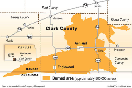 Map Kansas Wildfire Clark